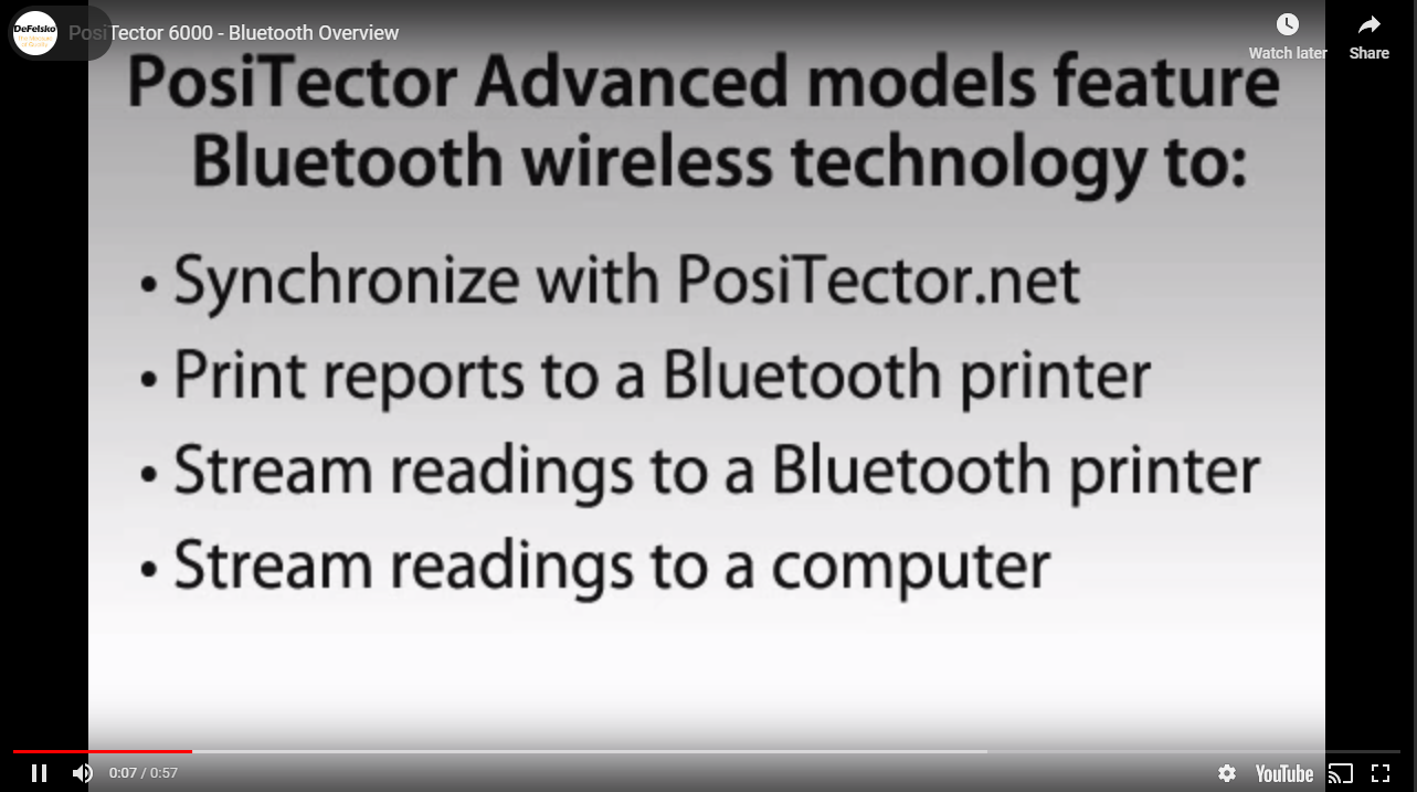 Positector 6000 VIDEO -Bluetooth Features
